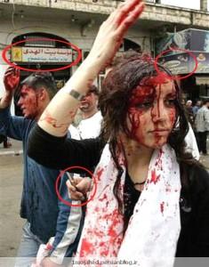یک دختر لبنانی در حال قمه زنی با سر و روی خونین